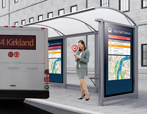 NEXCOM Digital Signage Player Helps Bus Passengers Adjust Trips Timely
